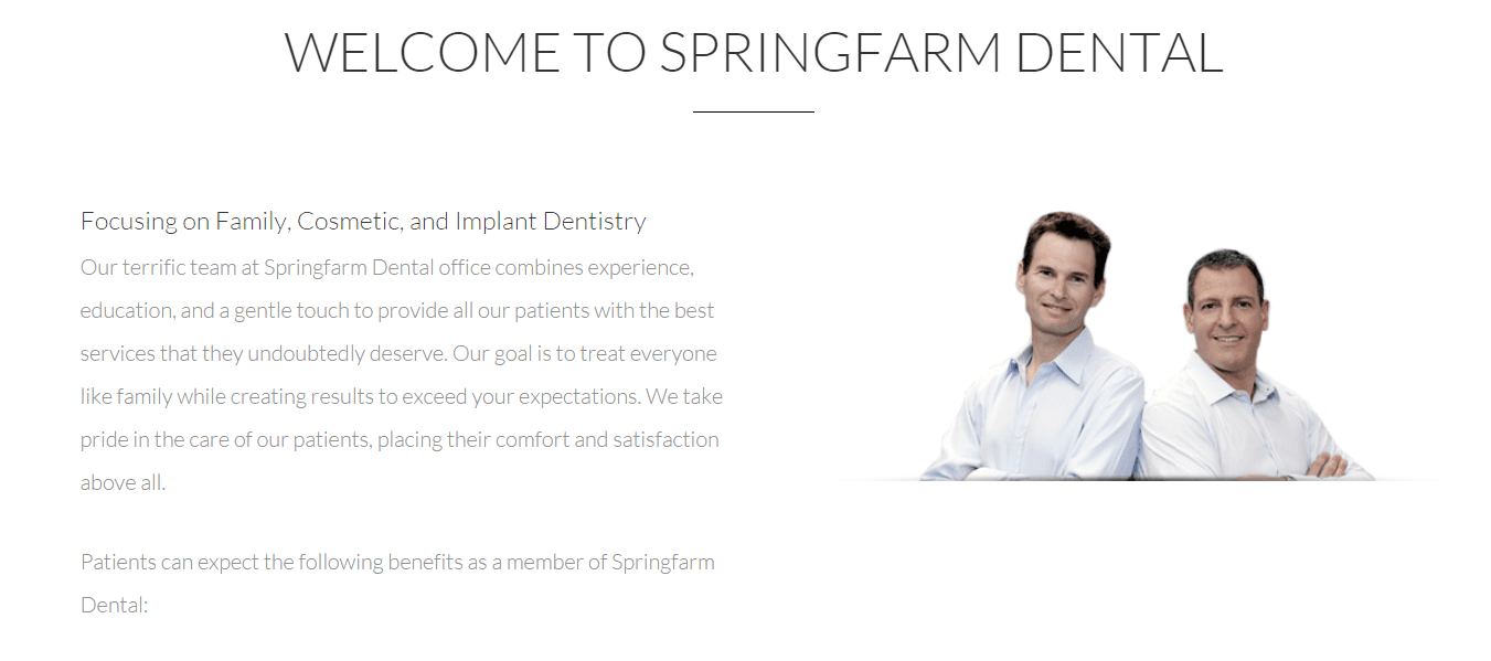 Springfarm Dental Website Copy
