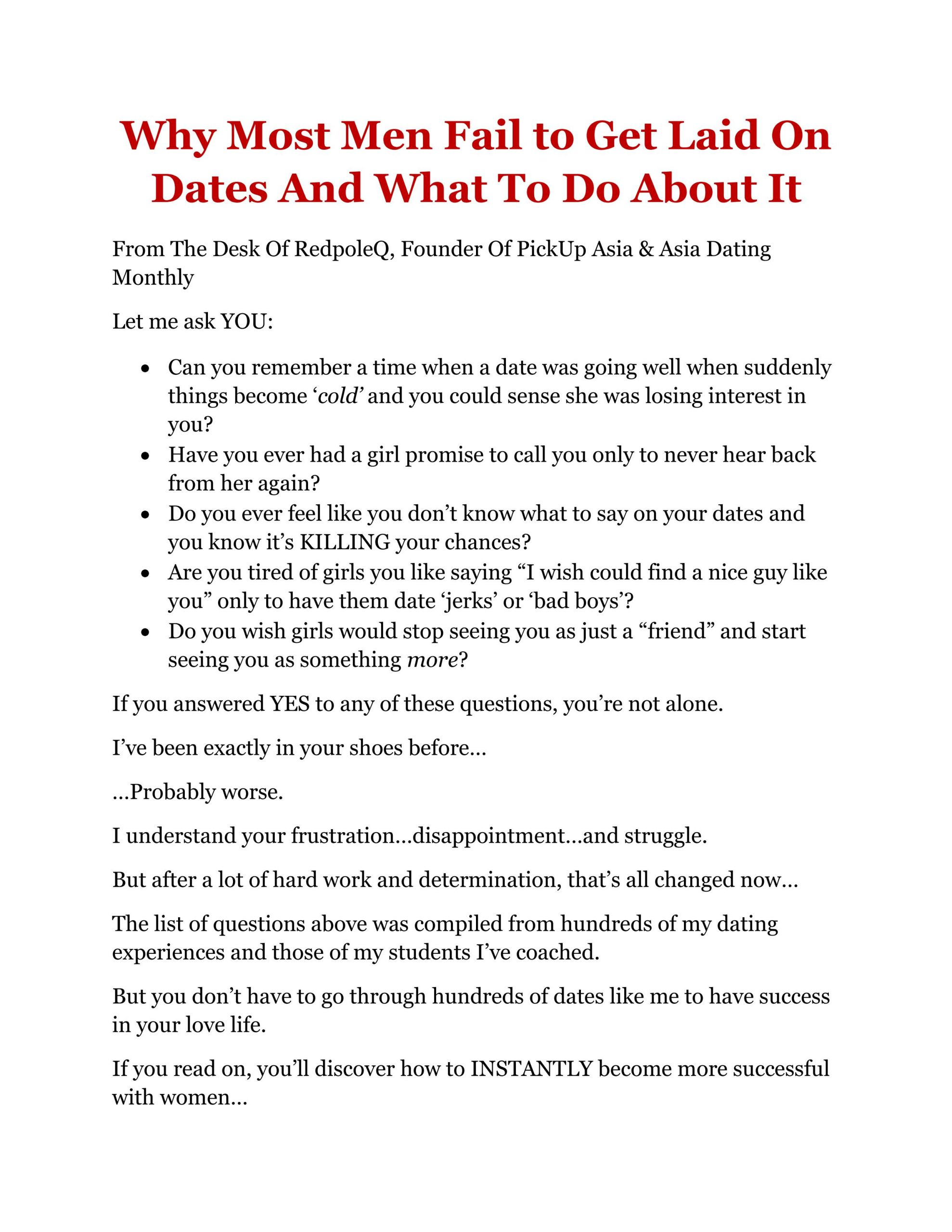 The Perfect First Date Sales Page