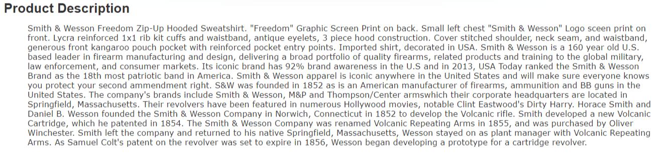Amazon product description example