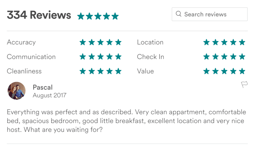 Airbnb guest reviews
