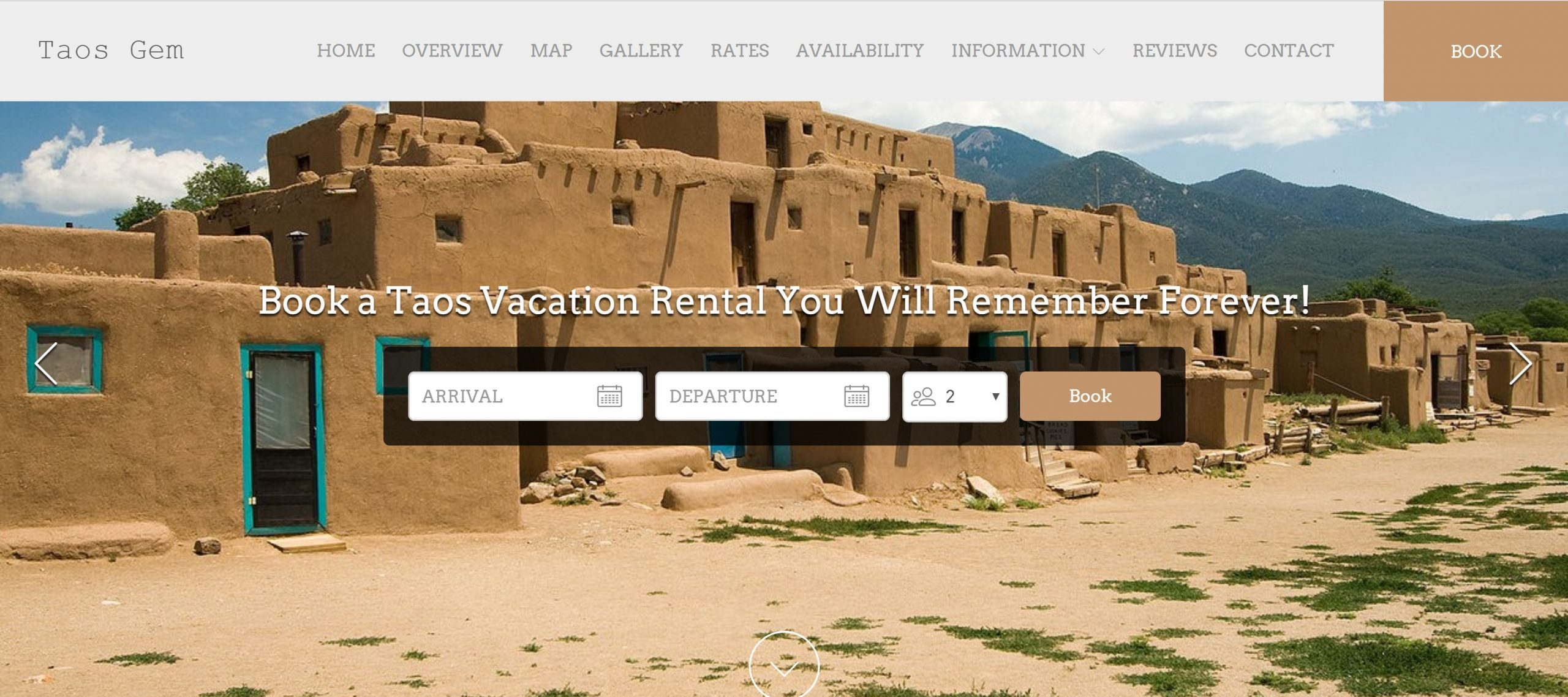 Taos Vacation Rental Website Copy & Design