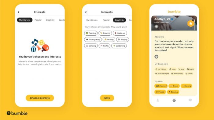 Bumble now has interest badges so it's easier to tell daters your likes   HT Tech