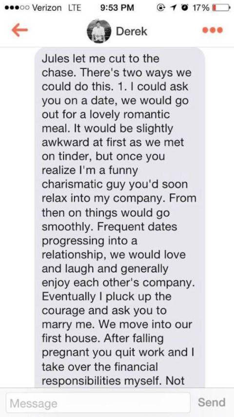 Derek and Jules elaborate Tinder message