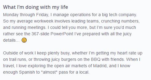 grounded OkCupid profile example